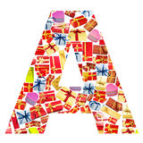 A Letter   made of giftboxes Royalty Free Stock Photography