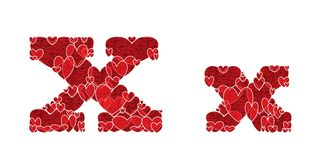 Letter X, made from hearts. Letter X, uppercase and lowercase of alphabet made from hearts Stock Photography