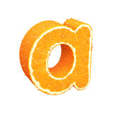 Letter made from orange. This is letter made from orange with drops of water on it Stock Photos