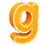 Letter made from orange. This is letter made from orange with drops of water on it Royalty Free Stock Photos