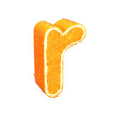 Letter made from orange. This is letter made from orange with drops of water on it Royalty Free Stock Photo