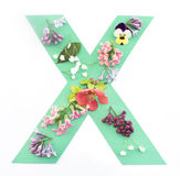 Letter X Made of Spring Flowers and Paper. On White Background stock images
