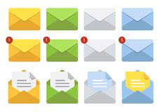 Letter in mail envelope. Set of illustrations. Mailbox notification or email message icons. stock illustration