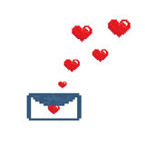 Letter mail flying hearts letter pixels art style Royalty Free Stock Photo