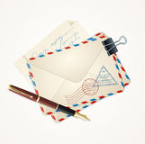 Letter Mail and Pen Vintage. Vector Stock Image