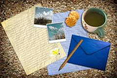 Letter with mail and tea on the beach texture Royalty Free Stock Photos