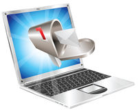 Letter mailbox flying out of laptop screen concept Stock Image