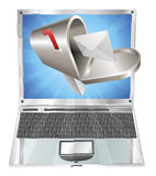Letter mailbox flying out of laptop screen concept Stock Photos