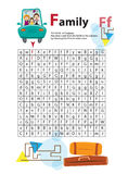Letter Maze F. This worksheet helps kids recognize and name capital and lowercase letters. Kids also exercise thinking Royalty Free Stock Image