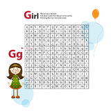 Letter Maze G. This worksheet helps kids recognize and name capital and lowercase letters. Kids also exercise thinking Stock Image