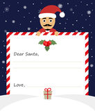Letter merry christmas illustration on blue background. Dear santa claus Stock Photography