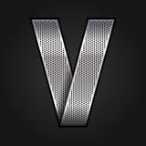 Letter metal chrome ribbon - V Stock Image