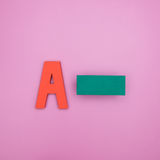 Letter A with minus sign Stock Photos