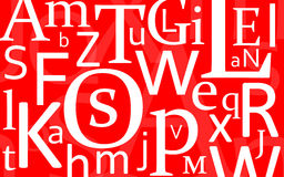 Letter Mix. Different letters on a red background Stock Photo