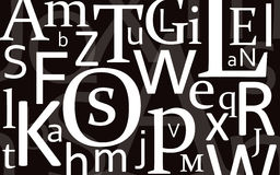 Letter Mix Black. Different letters on a black (C:60,M:60,Y:60,K:90) background Royalty Free Stock Photos