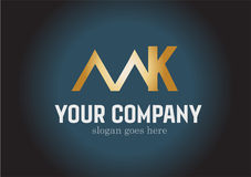 Letter MK  Golden Logo Design Vector. Letter MK Golden  Logo Design Vector isolated on simple background Royalty Free Stock Photography