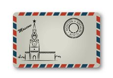 Letter from Moscow with the Kremlin tower painted. Stylization. Stock Photo