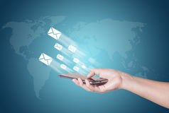 Letter move form phone, email concept Stock Image