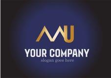 Letter MU Golden Logo Design Vector Stock Photography