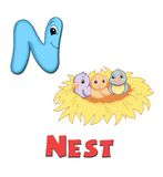 Letter N. Alphabet for children. Page with the letter N stock illustration