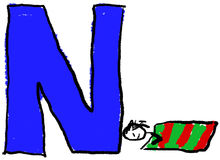 Letter N. A childlike drawing of the letter N, with a person taking a Nap Royalty Free Stock Photo
