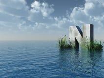 Letter N. Rock in water landscape - 3d illustration Stock Photos