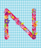 The letter N Bright floral element of colorful alphabet in  Royalty Free Stock Photography