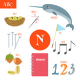 Letter N. Cartoon alphabet for children. Nest, needle, notebook, Stock Photo