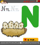 Letter n with cartoon bird nest Royalty Free Stock Photography
