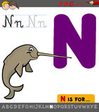 Letter n with cartoon narwhal Stock Photos
