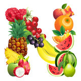 Letter N composed of different fruits with leaves Stock Photos
