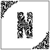 The letter N. Decorative Font with swirls and floral elements. Vintage style.  Royalty Free Stock Photography