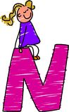 Letter N girl Royalty Free Stock Image