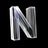 Letter N in glass 3D Royalty Free Stock Images