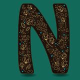 The Letter N with Golden Floral Decor. Dark brown symbol. Yellow flowers and plants with metallic blazing effect. Blue small hearts. Vector Illustration Stock Image