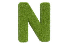 Letter N from green grass, 3D rendering Stock Photo