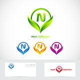 Letter N green leafs logo set Stock Images