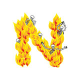 Letter N hellish flames and sinners font. Fiery lettering. Infer. Nal fire alphabet sign. ABC devilish flame of Death Satanic and skeleton Royalty Free Stock Photos