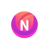 Letter N logo abstract circle shape element. Vector round compan. N logo abstract circle shape element. Vector round company icon sign Royalty Free Stock Photo