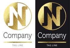 Letter N logo. Golden bright letter N logo stock illustration