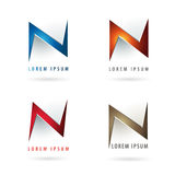 Letter N logo. Icon design template elements with embossed 3d effect Stock Photos