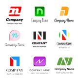 Letter N logo. Set of alphabetical Logo Design with different moods and Concepts - Letter N Stock Images
