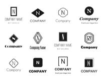 Letter N (en) logos icons. Vector set of flat style monochromatic letter N (en) logos - elegant, modern and simple logo design collection. Editable eps file Royalty Free Stock Photo