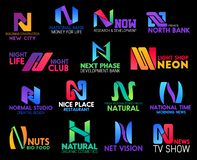 Letter N luxury brand corporate identity design. Corporate identity letter N icons of neon light shop, natural organic cosmetic brand and creative design studio royalty free illustration