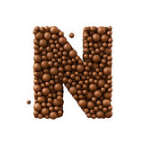 Letter N made of chocolate bubbles, milk chocolate concept, 3d render.  royalty free illustration