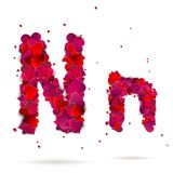 Letter n made from hearts. Love alphabet Stock Photos