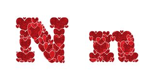 Letter N, made from hearts. Letter N, uppercase and lowercase of alphabet made from hearts Stock Photos