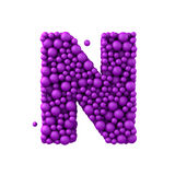 Letter N made of plastic beads, purple bubbles, isolated on white, 3d render Stock Photos
