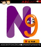 Letter n with nine cartoon illustration Stock Photo