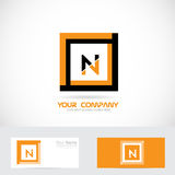 Letter N orange black square logo Royalty Free Stock Photo